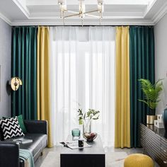 Living Room Yellow And Green, Living Room White, Home Living Room, Living Room Decor Curtains, Home Curtains, Living Room Windows, Mustard Living Rooms, Rideaux Design, Home Room Design
