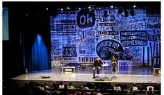 Backdrop unique, modern stage backdrop of phrases and words, could easily be replicated with prefab walls, chalkboard paints, and chalk. Stage Set Design, Church Stage Design, Christmas Stage Design, Bühnen Design, Design Ideas, Concert Stage Design, Casa Kids, Stage Props, Theatre Props