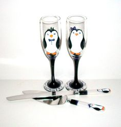 Hey, I found this really awesome Etsy listing at https://www.etsy.com/listing/174601607/cute-penguins-hand-painted-champagne
