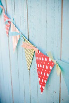 Pennant banner invites new members and old alike. Easy decoration that can be made out of scraps of scrapbook paper.