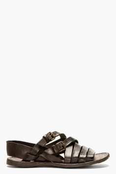 OFFICINE CREATIVE Brown Leather Strapped APUANA Sandals