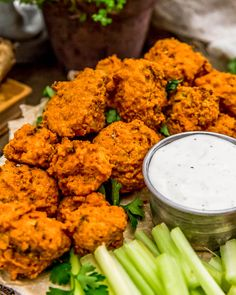 "These healthy, oil free Baked Buffalo Cauliflower Wings served with Vegan Ranch or Vegan Blue ""Cheese"" Dressing is like a flavor explosion in your mouth. #wholefoodplantbased #vegan #oilfree #glutenfree #plantbased 