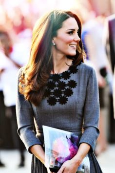 Princess Catherine in grey and black outfit