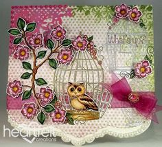 Heartfelt Creations | Golden Owl Cage And Blooms