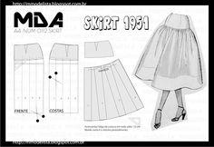 pattern for skirt Dress Making Patterns, Easy Sewing Patterns, Vintage Sewing Patterns, Clothing Patterns, Skirt Patterns, Tailoring Techniques, Sewing Techniques, Sewing Basics, Sewing Hacks