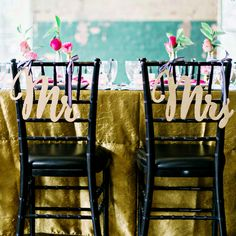 chair signs contrasted wonderfully against black Tiffany chairs. Hanging them on the chairs with black and white striped ribbon was the cutest touch! My Perfect Wedding, Dream Wedding, Chiavari Chairs Wedding, Tiffany Chair, Wedding Chair Signs, Gold Glitter Wedding, Big Chair, Mr And Mrs Wedding, Glamorous Wedding