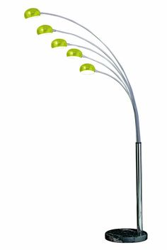 Premier Housewares Zeus Lime Green 5-Arm Floor Lamp with Glass Shades and Black Marble Base: Amazon.co.uk: Lighting