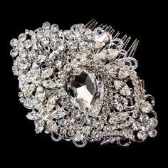 Moonlit Bridals - Antique Rhodium Silver Rhinestone Comb  MBHP9886, $139.99 (http://www.moonlitbridals.com/antique-rhodium-silver-rhinestone-comb-mbhp9886/)