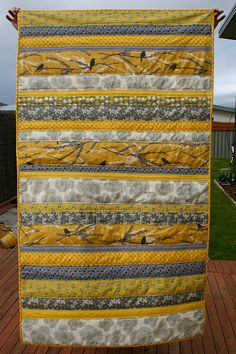 yellow grey strip quilt - quilt as you go