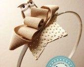 https://www.facebook.com/pages/Maicreazione/270775629619468 Owl Bow Headband # cerchietto con piccolo gufetto, fiocco e stella : Accessori per capelli di maicreazione