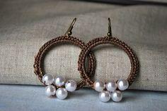 Desert Pearl Wreath Hoop Earrings in Earthy Brown, Crochet Earrings