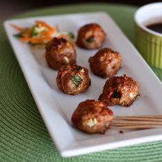 Asian Turkey Meatballs with Chili Garlic Glaze from @Aggie's Kitchen