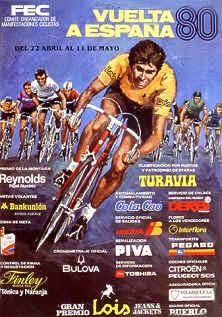 1980 Vuelta a Espana Poster. Into the Eighties with a sketch of a group of cyclist. We still have a massive presence of sponsors – this time almost using all available space. The main cyclist here is shown wearing the leader's Yellow Jersey. Cycling Art, Cycling Bikes, Tired Of Love, Bike Poster, Old Bicycle, Bike Art, Sport, Yellow, Blue