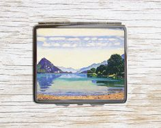 Landscape with Lake Cigarette Case - Landscape Art Metal Cigarette Case - Cigarette Case Wallet - Cigarette Box - Cigarette Holder by RegalosOnline on Etsy