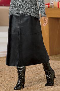 Long A-Line Leather Skirt | Chadwicks of Boston