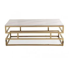 White Marble Rectangular Gold Squared Coffee Table ($439) ❤ liked on Polyvore featuring home, furniture, tables, accent tables, rectangle coffee table, rectangular coffee table, square coffe tables, square table and gold accent table