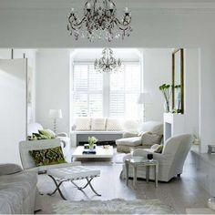 Weiß ruhigen Wohnzimmer Wohnideen Living Ideas Interiors Decoration