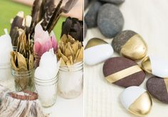 DIY hand painted rocks and feathers | Photos by Birds of a Feather | 100 Layer Cake