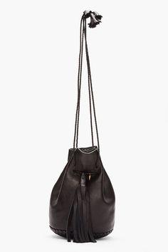 WENDY NICHOL Black tassled leather Bullet Bag