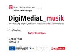Matthias Krebs, Kursleiter und Social Media Experte, gibt einen vertiefenden Einblick in das Twitter Universum und zeigt wie die Musikerinnen und Musiker das Tool effektiv für ihre Musikprojekte einsetzen können. http://www.digimedial.de/zertifikatskurs