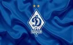 Download wallpapers FC Dynamo Moscow, 4k, Russian football club, Dynamo logo, emblem, Russian football championship, Premier League, football, Moscow, Russia, silk flag