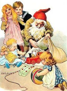 """Jenny Nyström, illustrator. """"God Jul """" postcard."""