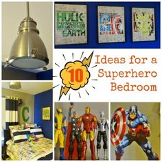 super hero bedroom decor shared at Katherines Corner