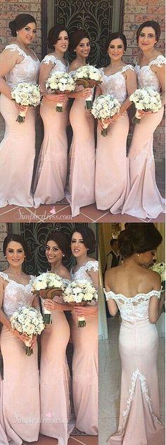 2016 bridesmaid dresses, mermaid long bridesmaid dresses with lace appliques, off shoulder long prom dresses