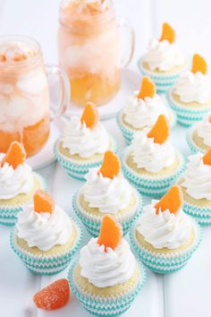 Made with the sweet citrus of fresh oranges, buttermilk, and simple vanilla frosting, you will love these made from scratch orange creamsicle cupcakes! Easy Vanilla Frosting, Buttermilk Frosting, How To Make Cupcakes, Fun Cupcakes, Sweets Recipes, Cupcake Recipes, Candied Orange Slices, Orange Cupcakes