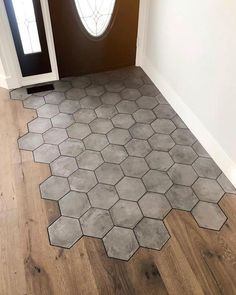 Hexagon Tile Transition Into Wood Flooring by Matt Gibson. 2019 Hexagon Tile Transition Into Wood Flooring by Matt Gibson. The post Hexagon Tile Transition Into Wood Flooring by Matt Gibson. 2019 appeared first on Entryway Diy. Home Renovation, Home Remodeling, Hexagon Tiles, Honeycomb Tile, Hexagon Tile Bathroom, Hex Tile, Herringbone Tile, Hexagon Shape, My Dream Home