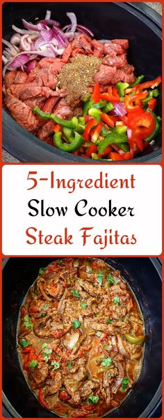There are only 5-Ingredients in this slow cooker steak fajitas recipe. #slowcooker