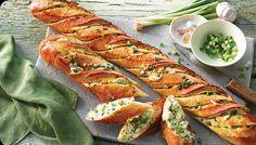 Cheesy Garlic and Green Onion Stuffed Baguette - ACE Bakery - Recipe Box Baguette Appetizer, Baguette Sandwich, Baguette Recipe, Appetizer Sandwiches, Appetizer Recipes, Appetizers, Stuffed Baguette, Vegetarian Sandwich Recipes, Baguette