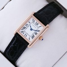0fc67113295 SWISS Cartier Tank Solo 18kt Rose Gold Black Leather Strap Ladies Watches  fake Cartier Watches Women