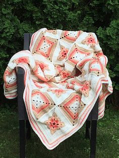 Coral Granny Square Patchwork Crochet Afghan by DapperCatDesigns