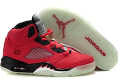 Jordans 5 Red Black Sale, made with Leather upper and luminescent Sole, high qaulity and cheap price. Click the picture to buy it.
