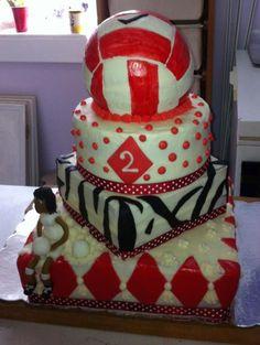 Volleyball cake birthday cake