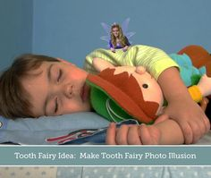 Here's a great idea the next time your son or daughter loses a tooth:     1. Take a picture of your child while they are sleeping after they lost a tooth.     2. Then, go to this website http://​toothfairy.capturethemagic.​com/MagicalBeliefs.aspx where you can put the Tooth Fairy in the picture with them!