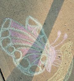 Easy butterfly with sidewalk chalk