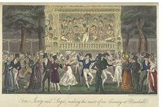 Dancing at Vauxhall gardens, London, 1823. Cruikshank. British Library