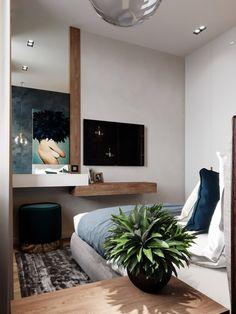 Narrow Bedroom, Small Room Bedroom, Trendy Bedroom, Bedroom Wall, Bedroom Decor, Hotel Interiors, Bedroom Styles, Furniture Design, Interior Design