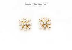 Diamond Earrings for Women in 18K Gold - DER876 - Indian Jewelry from Totaram Jewelers