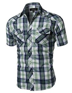 Western Casual Button Down Shirt Green White Blue Size L