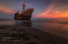 This is the third one of this series at Dimitrios shipwreck in Githio..! You've already seen a sunrise and a night shot..so here it's a beautiful sunset I had there.!  I can't promise it'd be the last one though..;-)