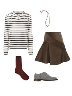 A.P.C. navy stripe cotton top, $160; avenue32.com; The Brave Collection berry necklace, $78; thebravecollection.com; J.W.Anderson khaki corduroy spiral mini skirt, $308; avenue32.com; Band of Outsiders wool saddle shoe, $575; barneys.com; Asos mix knit tipped ankle sock, $8; asos.com - Photo: (clockwise from top left) Courtesy of avenue32.com; Courtesy of thebravecollection.com; Courtesy of avenue32.com; Courtesy of Barneys; Courtesy of asos.com