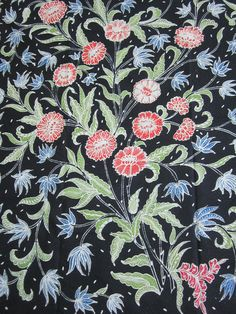 #Floral tulis #batik on navy blue background from Java, Indonesia.