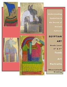 Ancient Egyptian Art Unit Lesson plans-Used for 4th and 5th but could be for any upper elementary or middle school class-Tomb Art Lesson-Gold Scratch Art-Clay Slab SarcophagusLessons include learning targets, online resources, examples, printable kid-friendly directions, printable key vocabulary cardsCheck out more examples of student work at my class Artsonia site and my classroom website:http://www.artsonia.com/schools/school.asp?id=146187http://abigailfliehler.wix.com/fliehler-classroom