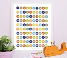 Numbers Chart 1 to 100, Numbers chart for learning don't have to be an eye sore anymore. This fun and colorful numbers chart for kids digital print can be a great educational tool for early learners still learning to recognize their numbers or improve their counting and math skills. #numbersprint #kidsdecor #kidschart #educationalart #kidsprint