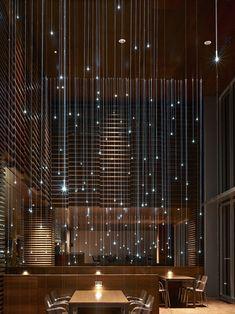 ELEMENTS restaurant by Elliott + Associates Architects. Fiber optic lighting detail looking east