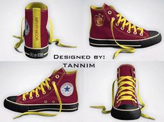 Words can't describe how much I want these!!  Custom Harry Potter House Gryffindor Converse Chucks by Tannim, $115.00