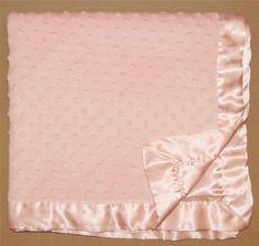 Katie Little Pink Minky Dot Baby Blanket Bumpy Velour Satin Back Trim Popcorn #Kidsline